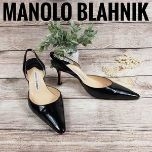 Manolo Blahnik Carolyne Low Heel Patent Pumps 38